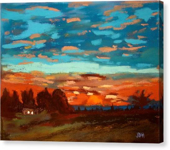Blue Sunset Pastel Canvas Print