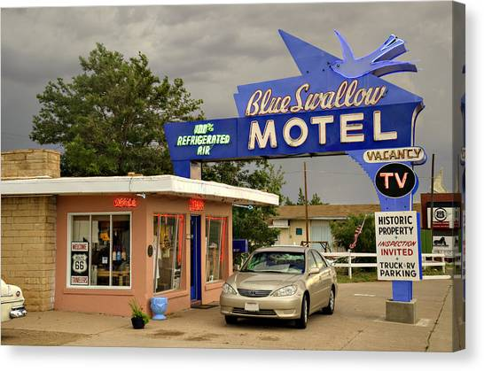 Historic Route 66 Canvas Print - Blue Swallow Motel by Ricky Barnard
