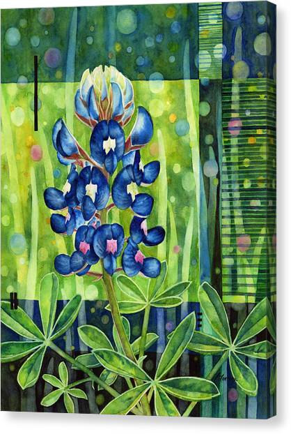 Bluebonnets Canvas Print - Blue Tapestry by Hailey E Herrera