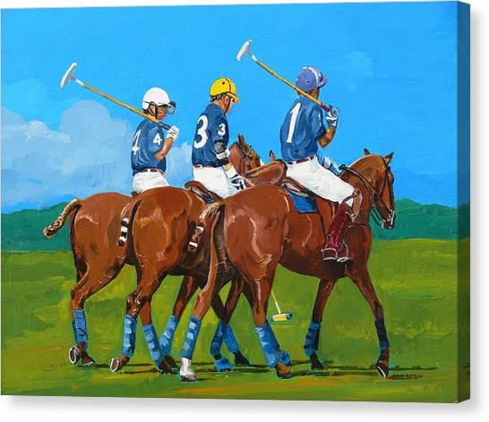 Polo Canvas Print - Blue Team by Janina  Suuronen