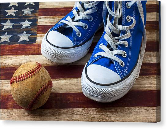 Tennis Canvas Print - Blue Tennis Shoes And Baseball by Garry Gay