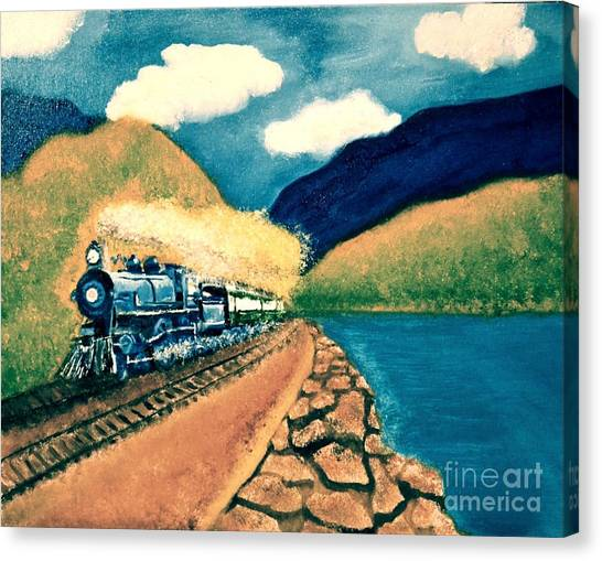 Blue Train Canvas Print