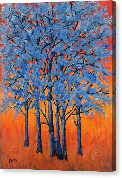 Blue Trees On A Hot Day Canvas Print