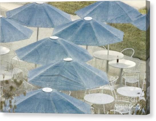 Blue Umbrellas And A Cola Canvas Print
