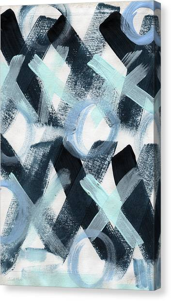 Valentines Day Canvas Print - Blue Valentine- Abstract Painting by Linda Woods