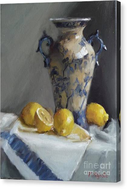 Blue Vase And Lemons Canvas Print