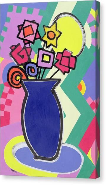 Cartoonist Canvas Print - Blue Vase by Bodel Rikys