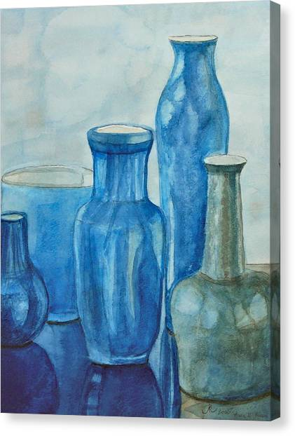 Blue Vases I Canvas Print