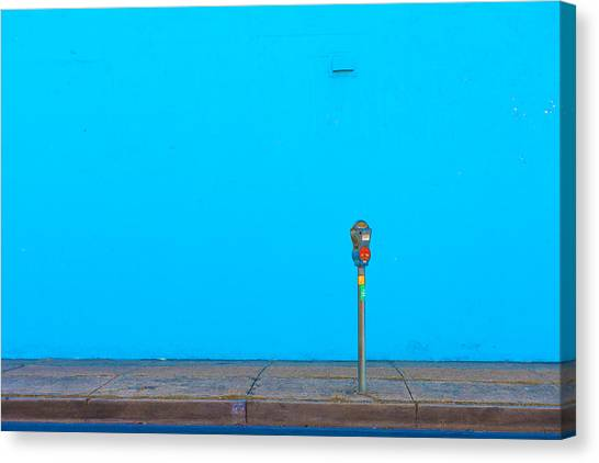 Blue Wall Parking Canvas Print