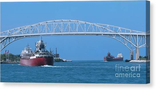 Blue Water Bridge And Freighters Canvas Print