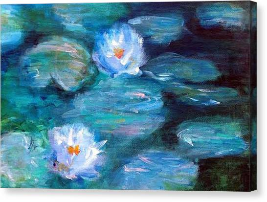 Canvas Print featuring the painting Blue Water Lilies by Lauren Heller