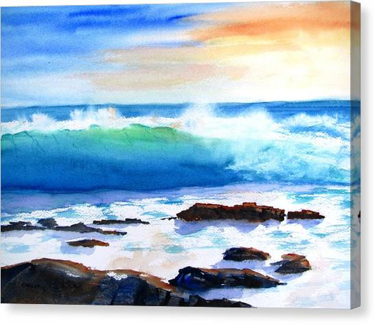 Blue Water Wave Crashing On Rocks Canvas Print
