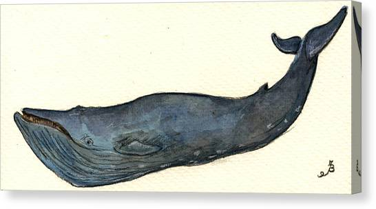 Ocean Animals Canvas Print - Blue Whale by Juan  Bosco