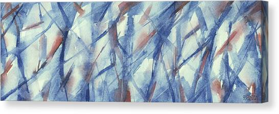 Navy Blue Canvas Print - Blue White And Coral Abstract Panoramic Painting by Beverly Brown Prints
