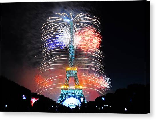 Blue White Red Fireworks Canvas Print