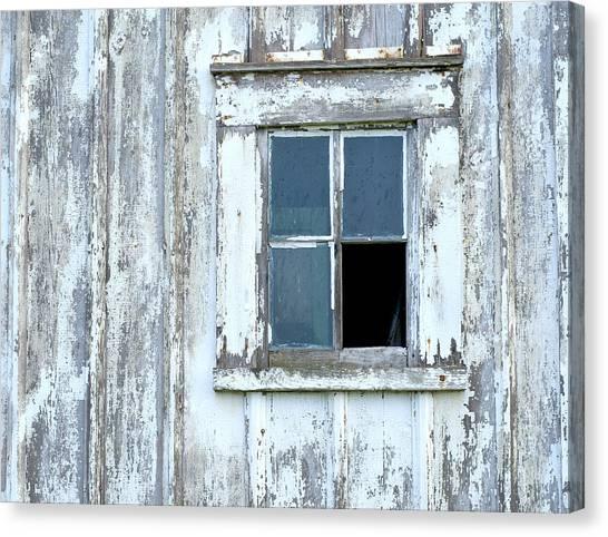 Blue Window In Weathered Wall Canvas Print