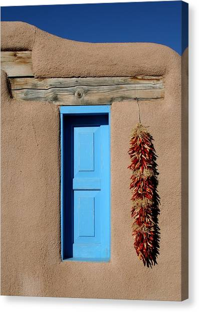 Blue Window Of Taos Canvas Print