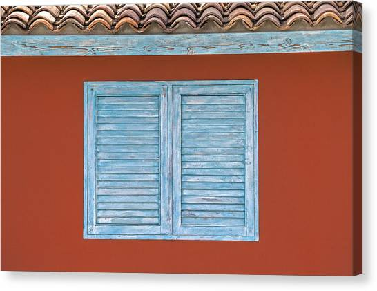 Blue Window Shutter Of Aruba Canvas Print
