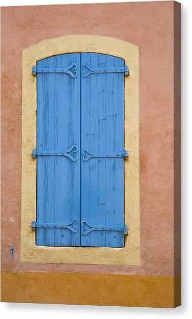 Blue Window Shutters Canvas Print