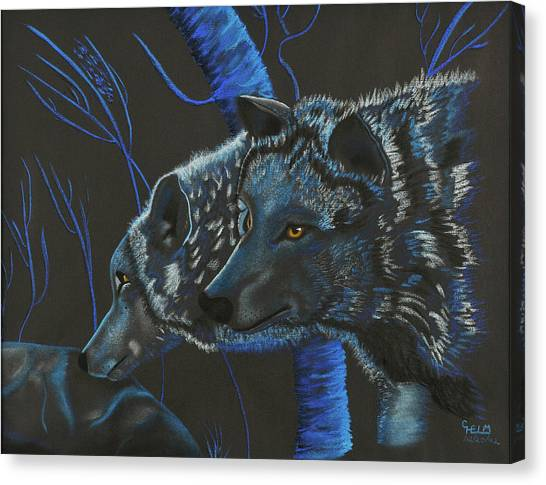 Blue Wolves Canvas Print