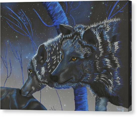 Blue Wolves With Stars Canvas Print