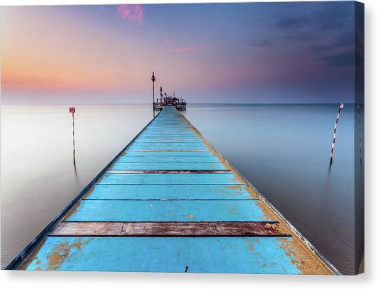 Blue Wooden Pier Canvas Print