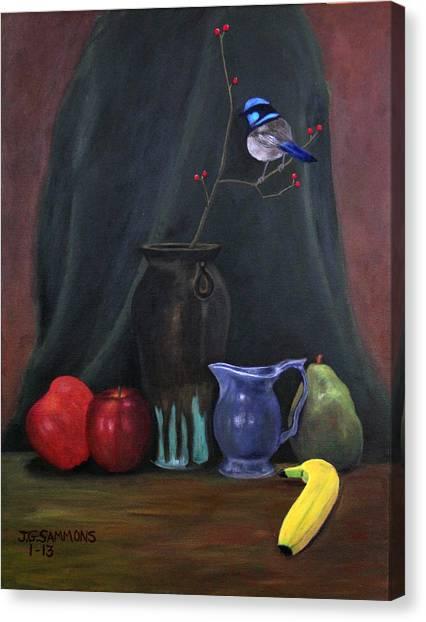 Blue Wren And Fruit Canvas Print