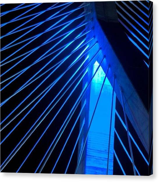 Massachusetts Canvas Print - Blue Zakim....boston Ma.  #alemy by Joann Vitali