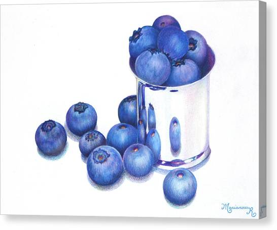 Blueberries And Silver Canvas Print