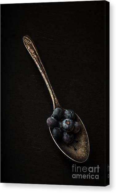 Blueberries Canvas Print - Blueberries On Silver Spoon by Edward Fielding