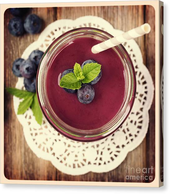 Smoothie Canvas Print - Blueberry Smoothie Retro Style Photo.  by Jane Rix