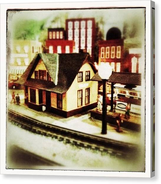 Trains Canvas Print - Bluefield Train Station In Miniature At by Teresa Mucha