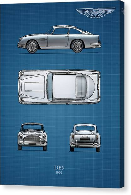 Blueprint Aston Martin Db Mark Rogan Canvas Print