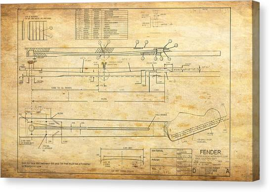 Taylor Swift Canvas Print - Blueprint For Rock And Roll by G Cannon