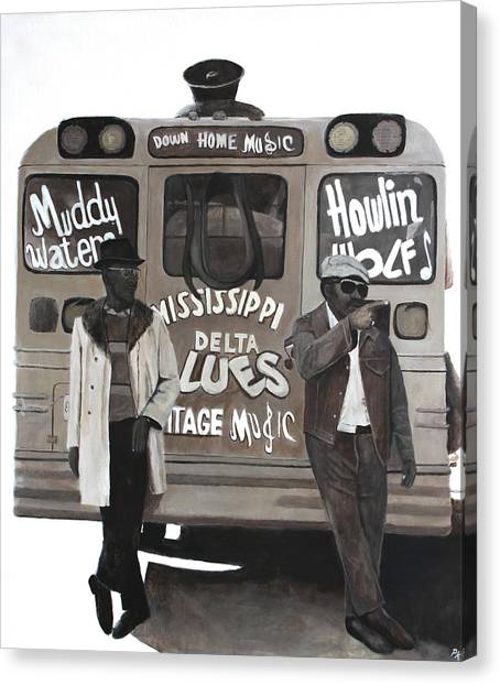 Howling Wolves Canvas Print - Blues Bus by Patrick Kelly
