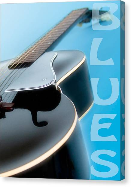 Guitar Picks Canvas Print - Blues Guitar by David and Carol Kelly