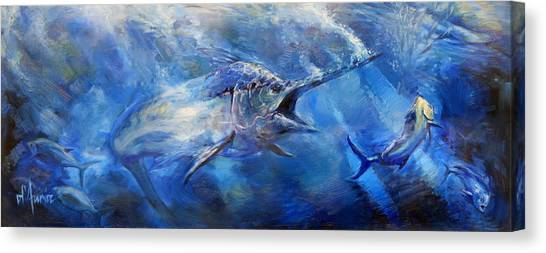 Saltwater Life Canvas Print - Blues by Tom Dauria