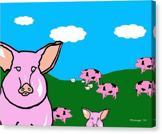 Bluesky Farm Pigs Canvas Print