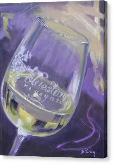 Bluestone Vineyard Wineglass Canvas Print