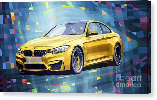 Classic Car Canvas Print - Bmw M4 Blue by Yuriy Shevchuk