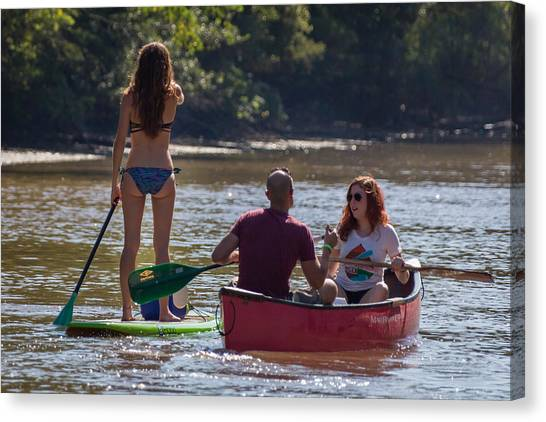 Board And Canoe In Vermillionville Boat Parade Canvas Print