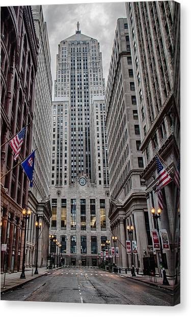 Chicago Skyline Art Canvas Print - Board Of Trade by Mike Burgquist