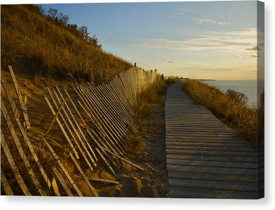 Boardwalk Overlook At Sunset Canvas Print