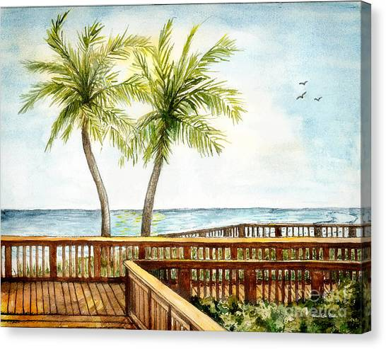 Boardwalk With Two Palms Canvas Print