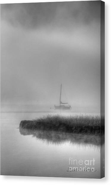 Boat And Morning Fog Canvas Print