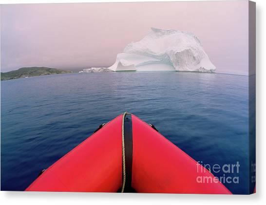 Newfoundland And Labrador Canvas Print - Boat And Summer Iceberg by Yva Momatiuk John Eastcott