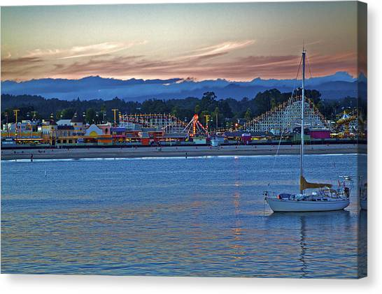 Boat At Dusk Santa Cruz Boardwalk Canvas Print