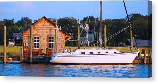 Boat At Shem Creek By Jan Marvin Canvas Print