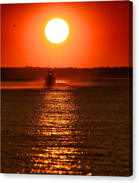 Boat At Sunset Canvas Print