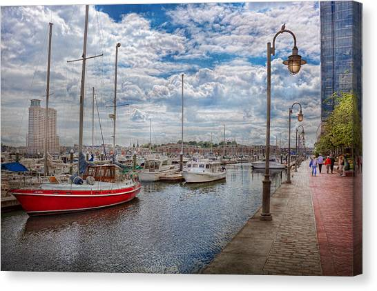Fells Point Baltimore Maryland Canvas Print - Boat - Baltimore Md - One Fine Day In Baltimore  by Mike Savad